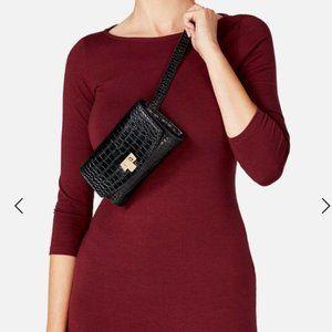 NWOT JustFab Faux Croc Belt Bag Black